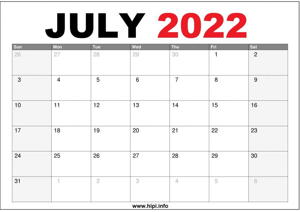 July 2022 Calendar US Printable