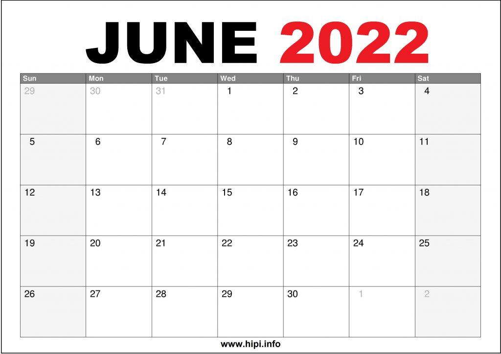 June 2022 Calendar Printable US