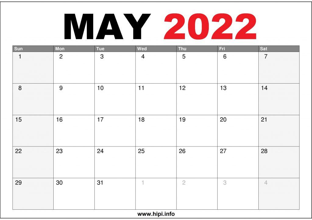 May 2022 Calendar Printable US