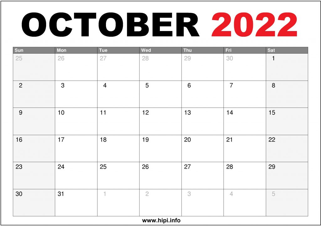 October 2022 Calendar Printable US