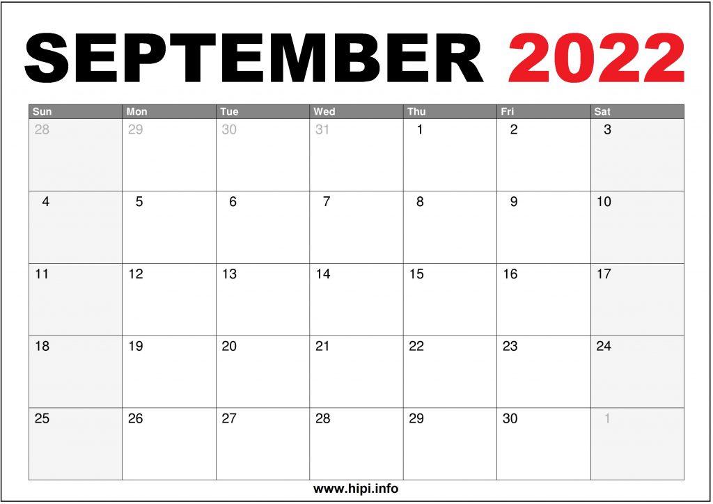 September 2022 Calendar Printable US