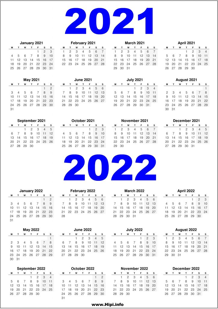 2021 and 2022 Printable UK Calendar - 2 Year