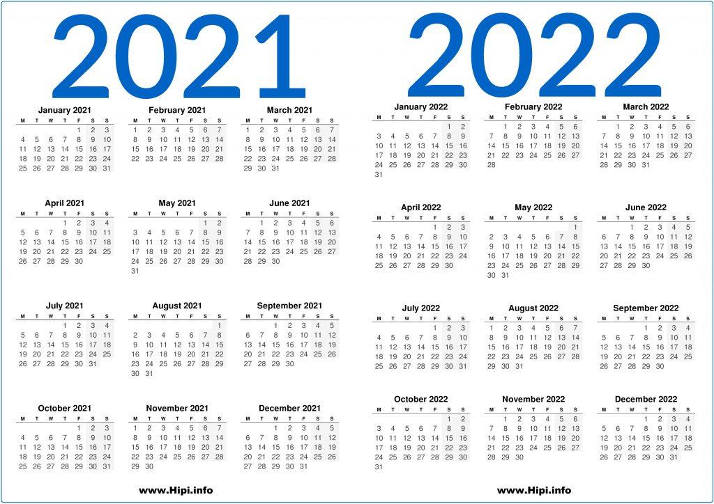2021/2022 UK Printable 2 Year Calendar