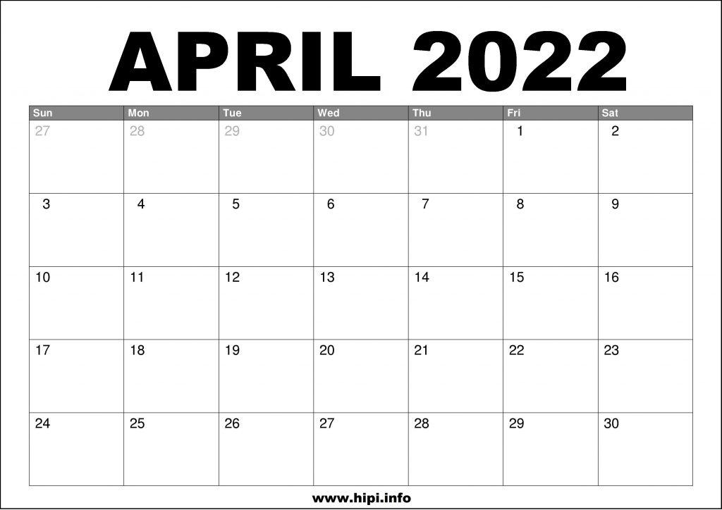 April 2022 Calendar Printable Free.April 2022 Calendar Printable Free Hipi Info Calendars Printable Free