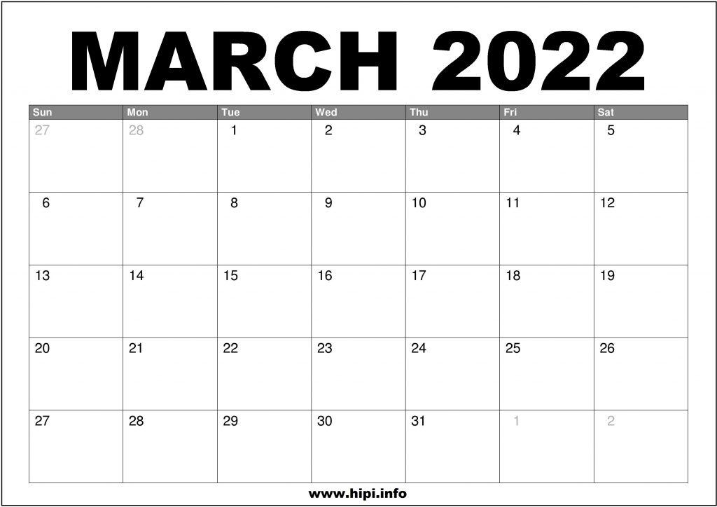 March 2022 Calendar Printable Free