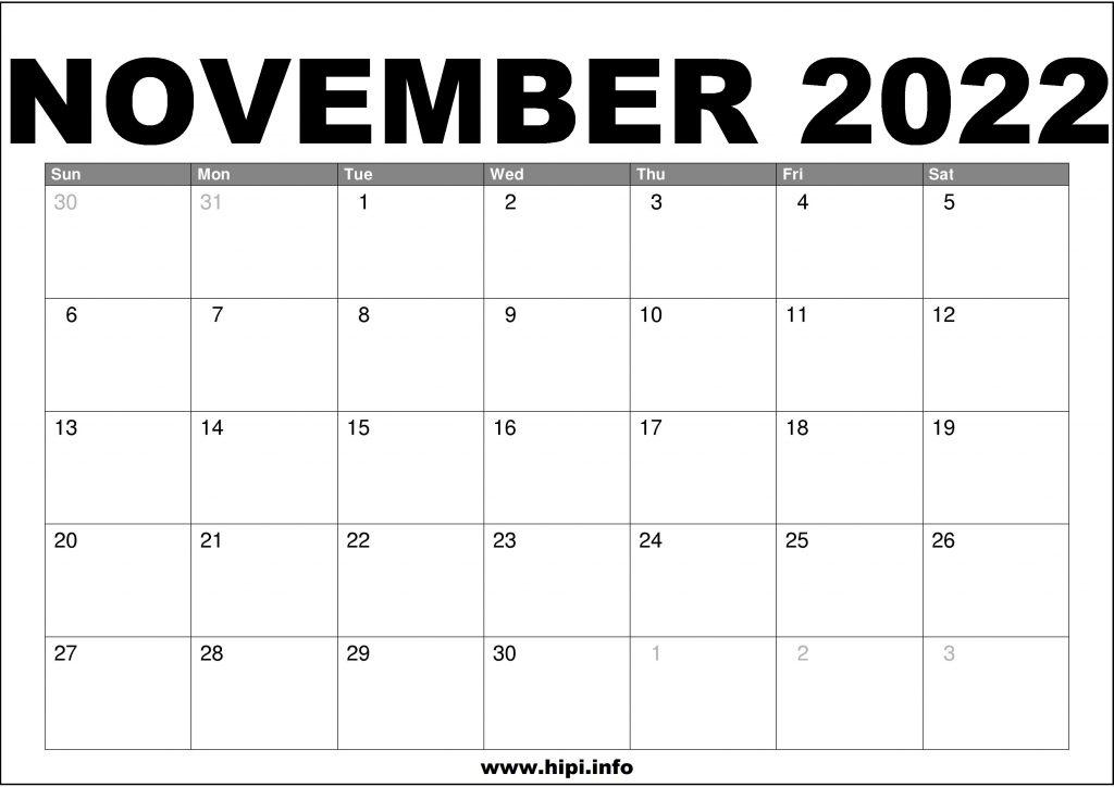 November 2022 Calendar Printable Free