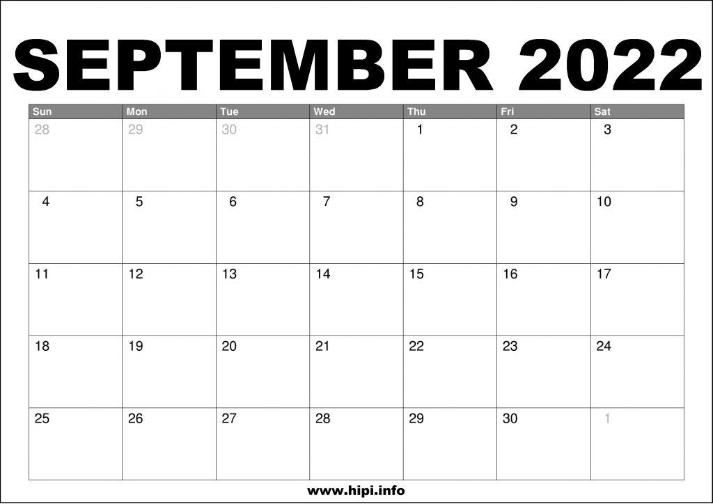 September 2022 Calendar Printable Free